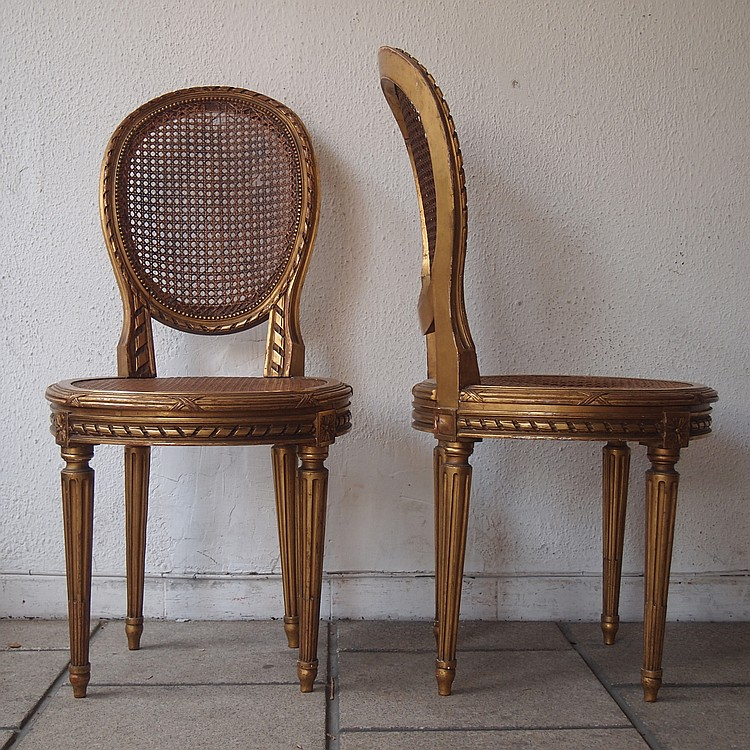 Paire de chaises 19es style louis xvi for Chaise louis xvi