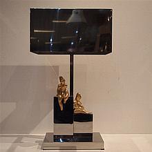 Teno A : Lampe d'ambiance création vers 1970, acier chromé et laiton doré,