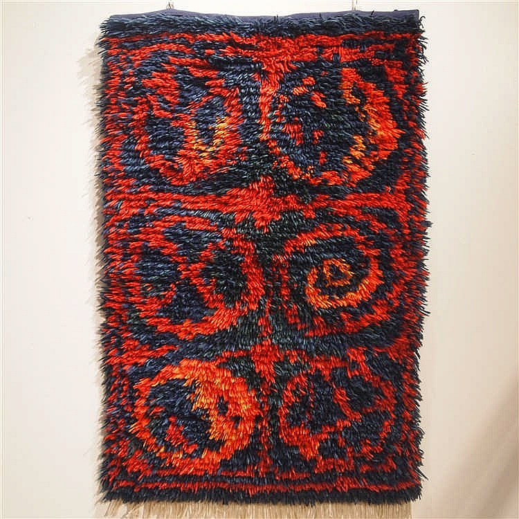 Tapisserie Scandinave Vers 1960 Laine Nouee Main 2 Tons Rouge Et