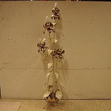Lampe d'ambiance vers 1940 : Fer forgé polychromé, 4 bras de lumière, forma