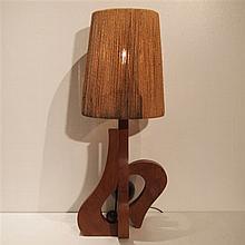 Lampe d'ambiance sculpturale : Fût en bois massif travaillé avec sphère, ab