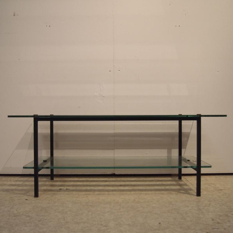 Table basse vers 1950 plateau rectangulaire en verre clair for Table basse plateau pivotant