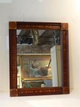 Antique Mixed Wood Inlay Framed Mirror