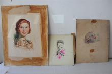 Lot - 3 Illustrations of Beautiful Women