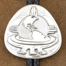 Global Warming Bolo Tie Overlaid Silver