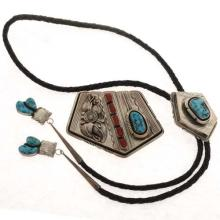 Vintage Turquoise Buckle Bolo Set Navajo Signed Denet-Dale