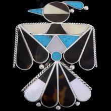 Inlaid Zuni Thunderbird Bolo Tie Handmade Turquoise Design