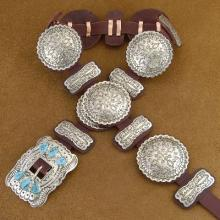 Hand Made Turquoise Silver Concho Belt