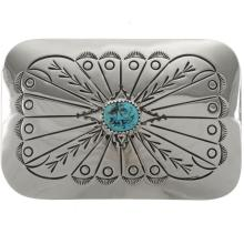 Navajo Turquoise Silver Belt Buckle Traditional Hammered Patterns
