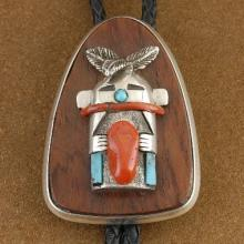 Old Pawn Navajo Sterling Silver Turquoise Coral Katsina Bolo Tie