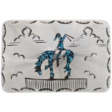 End Of Trail Belt Buckle Inlaid Turquoise Pattern