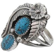Natural Kingman Turquoise Ladies Ring Silver Nature Design