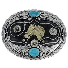 Turquoise Belt Buckle Navajo Made Silver Gold Horsehead Design