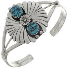 Natural Kingman Turquoise Bracelet Ladies Silver Fan Cuff
