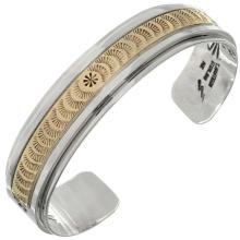 Gold Silver Hammered Mens Cuff Navajo Overlaid Bracelet