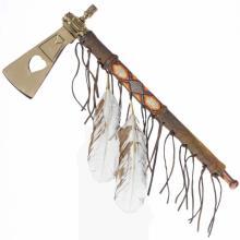 Brass Heart Peace Pipe Smokable Tomahawk Artifact