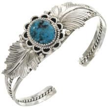 Natural Kingman Spiderweb Turquoise Bracelet Ladies Silver Navajo Cuff
