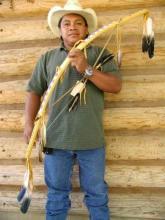 Plains Indian Beaded Buckskin Bow & Arrows