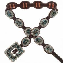 Southwest Turquoise Concho Belt Navajo Hammered Silver