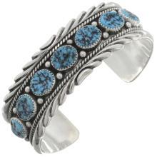 Navajo Turquoise Silver Cuff Kingman Seven Stone Bracelet