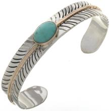 Genuine Turquoise Silver Gold Bracelet Navajo Feather Pattern Cuff