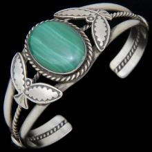 Malachite Silver Cuff Navajo Bracelet