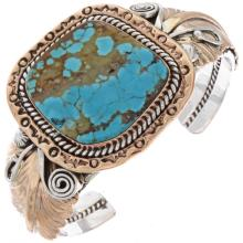 Gold Silver Navajo Bracelet Free Form Turquoise Cuff