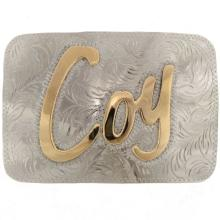 Custom Silver Gold Belt Buckle Overlaid Initials Or Name