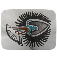 Inlaid Silver Thunderbird Belt Buckle Turquoise Coral Chips