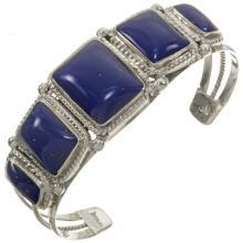 Lapis Silver Southwest Ladies Bracelet Twist Wire and Drops Cuff