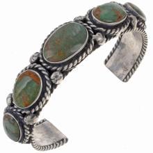 Santa Fe Style Turquoise Bracelet Silver Cuff