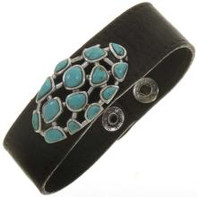 Ladies Turquoise Silver Leather Navajo Cuff Snap Closure Bracelet