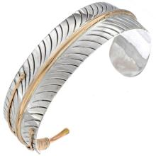 Gold Silver Feather Cuff Navajo Made Mens Bracelet