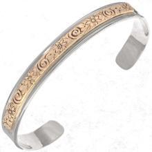 Navajo Silver Gold Cuff Handmade Overlaid Bracelet