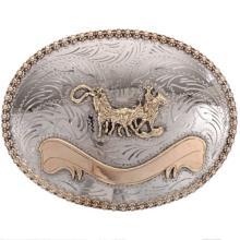 Custom Silver Gold Trophy Belt Buckle Team Roper Engravable Banner
