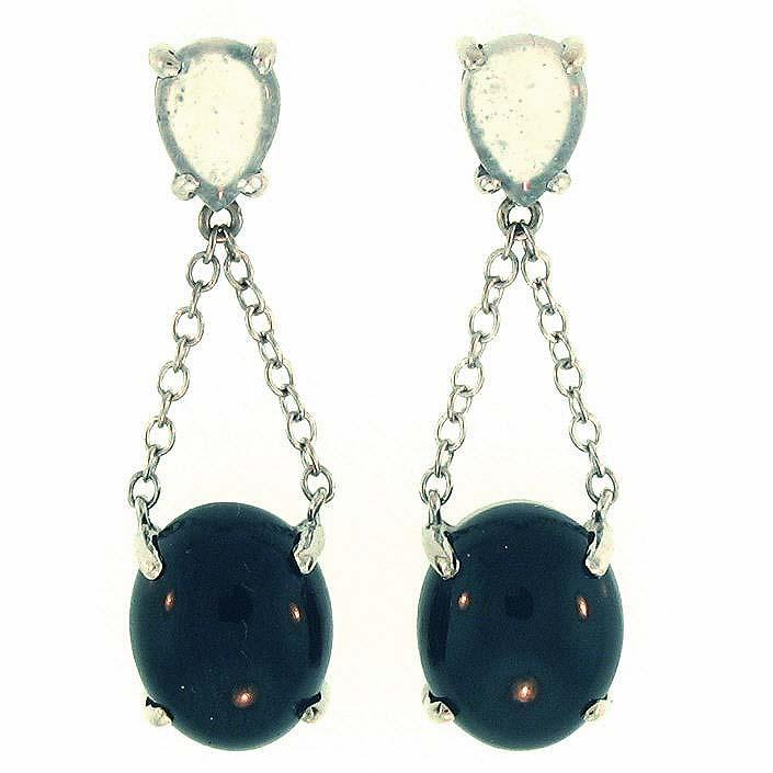 Untreated Black Mix Jadeite Jade Earrings
