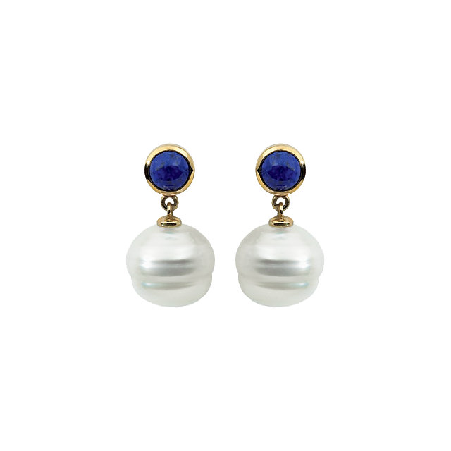 14K White 6mm Lapis & 11mm South Sea Cultured Pearl Earrings