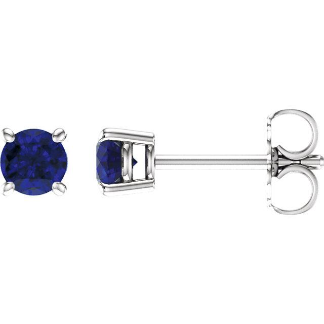 14K White 4mm Round Blue Sapphire Earrings