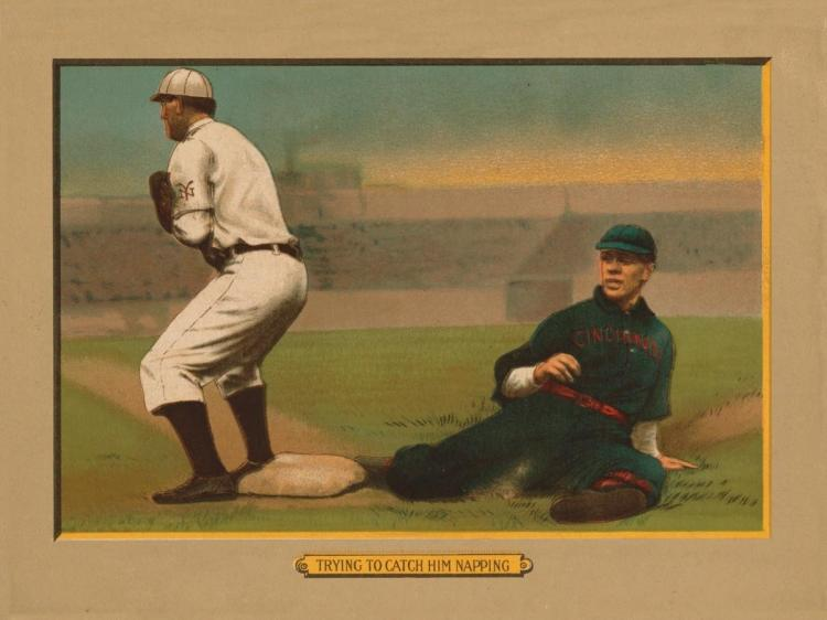AMERICAN TOBACCO COMPANY - TRYING TO CATCH HIM NAPPING, BASEBALL CARD