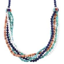 5-Strand Multicolor Bead Sterling Silver Native American Necklace
