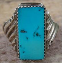 Vintage Navajo Turquoise Cast Ring Sz 13 3/4