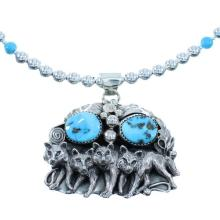 Silver Navajo Turquoise Wolf Bead Necklace Set