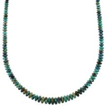 Turquoise Sterling Silver Navajo Bead Necklace