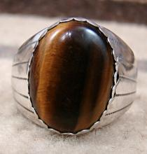 Men's Navajo Oval Tiger Eye Cast Rings By G. Smith Sz 9 1/4 And 13 3/4