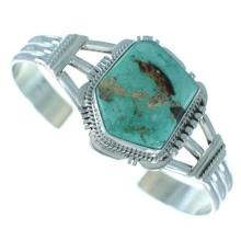 Royston Turquoise Native American Sterling Silver Cuff Bracelet