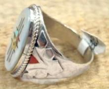 Zuni Sunface Zia Inlay W/coral & Turquoise Sides Cast Ring By Hustito Sz 12 1/2
