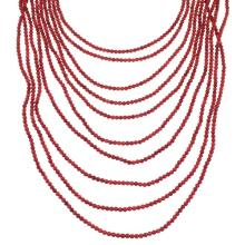 Coral And Genuine Sterling Silver Navajo 10-Strand Bead Necklace