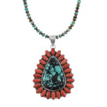 Turquoise And Coral Sterling Silver Navajo Bead Necklace Set