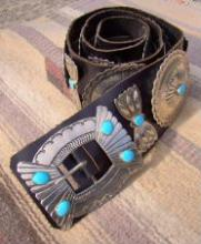 Xlg Navajo 18pc Turquoise Repousse Stamped Sunburst Double Belt Concho Belt