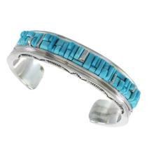 Turquoise Inlay Genuine Sterling Silver American Indian Bracelet